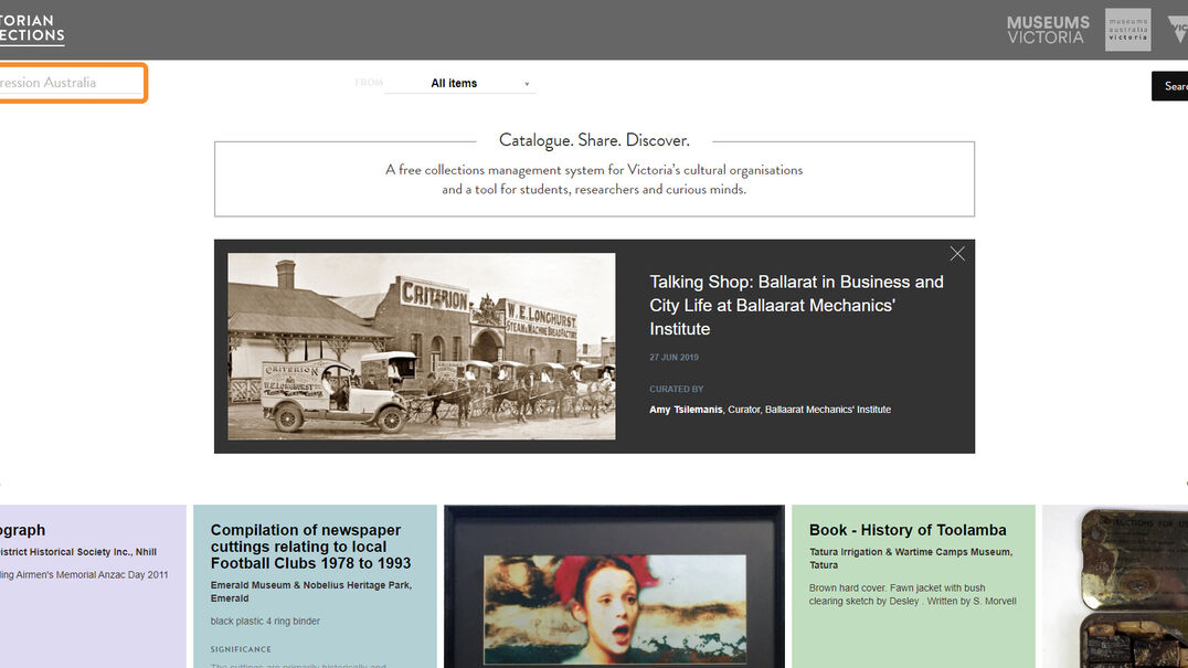 Step 2: Screenshot showing where the search function is on Victorian Collections website